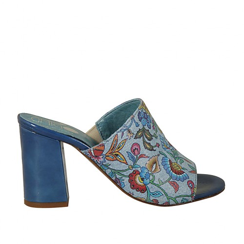 Woman's open mules in blue patent leather and fabric with flowers print heel 7 - Available sizes:  42