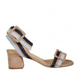 Sandalo da donna con fibbie in camoscio beige, blu e azzurro tacco 5 - Misure disponibili: 32, 33, 34, 42, 43, 44, 45