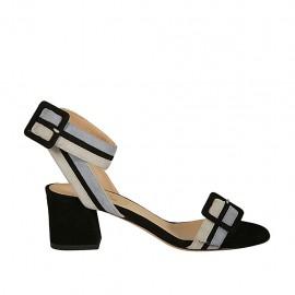 Sandalia para mujer en gamuza negra, gris y azul claro con hebillas tacon 5 - Tallas disponibles:  32, 33, 34, 42, 43, 44, 45