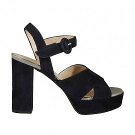 Sandalia para mujer en gamuza azul oscuro y piel laminada plateada con cinturon, plataforma y tacon 9 - Tallas disponibles:  31, 32, 33, 34, 42, 43, 45