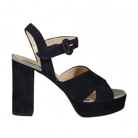 Woman's sandal in dark blue suede and silver laminated leather with strap, platform and heel 9 - Available sizes:  32, 43