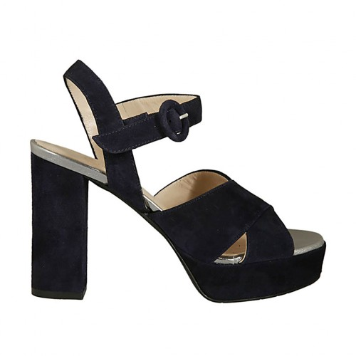 Woman's sandal in dark blue suede and silver laminated leather with strap, platform and heel 9 - Available sizes:  32