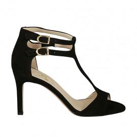 Zapato abierto con cinturones y elastico para mujer en gamuza negra tacon 8 - Tallas disponibles:  32, 33, 34, 42, 43, 44, 45