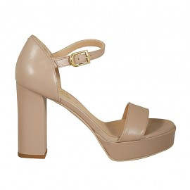Woman's open shoe with strap and platform in pearly nude leather heel 9 - Available sizes:  32, 33, 34, 42, 43, 44, 45
