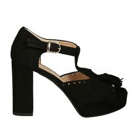 Zapato abierto para mujer con cinturon, borlas y plataforma en gamuza negra tacon 9 - Tallas disponibles:  32, 33, 34, 42, 43, 44, 45