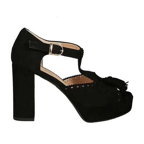 Woman's open shoe with strap, tassel and platform in black suede heel 9 - Available sizes:  43