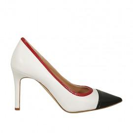 Zapato de salon para mujer en piel blanca y charol azul y rojo tacon 8 - Tallas disponibles:  31, 33, 34, 42, 43, 44, 45