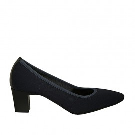 Woman's pump in blue fabric and leather heel 5 - Available sizes:  31, 33, 34, 42, 43, 44, 45
