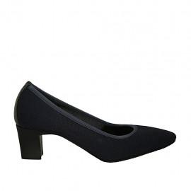 Zapato de salon para mujer en tejido y piel azul tacon 5 - Tallas disponibles:  31, 32, 33, 34, 42, 43, 44, 45, 46