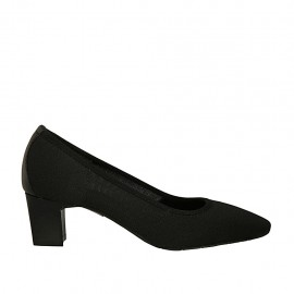 Woman's pump in black fabric and leather heel 5 - Available sizes:  32, 33, 34, 43, 44, 45, 46