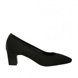 Zapato de salon para mujer en tejido y piel negra tacon 5 - Tallas disponibles:  32, 33, 44, 45, 46