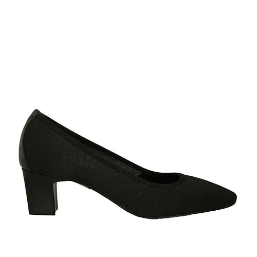 Woman's pump in black fabric and leather heel 5 - Available sizes:  32