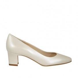 Zapato de salon para mujer en piel marfil perlado tacon 5 - Tallas disponibles:  32, 33, 34, 43, 44, 45