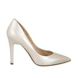 Zapato a punta de salón para mujer en piel marfil perlado tacon 9 - Tallas disponibles:  31, 32, 33, 34, 42, 43, 44, 45, 46, 47