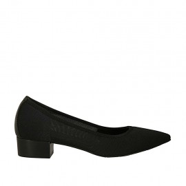 Woman's pump in black fabric and leather heel 3 - Available sizes:  34, 43