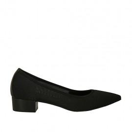Zapato de salon para mujer en tejido y piel negra tacon 3 - Tallas disponibles:  43