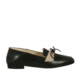 Woman's mocassin in black and beige leather with bow heel 1 - Available sizes:  33, 34, 42, 43, 44, 45, 46
