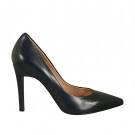 Woman's pointy pump in blue leather with heel 9 - Available sizes:  31, 32, 33, 34, 42, 43, 44, 45, 46