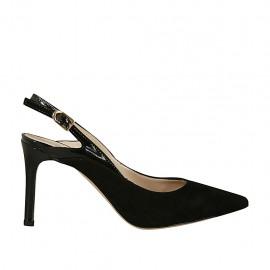 Chanel pour femmes en daim et cuir verni noir talon 8 - Pointures disponibles:  32, 33, 34, 44, 45, 46