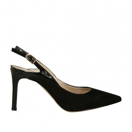 Woman's slingback pump in black suede and patent leather heel 8 - Available sizes:  31, 34, 46