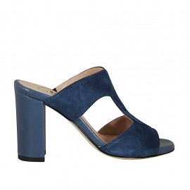Woman's open mules in blue suede and leather heel 8 - Available sizes:  32, 33, 42, 43, 44
