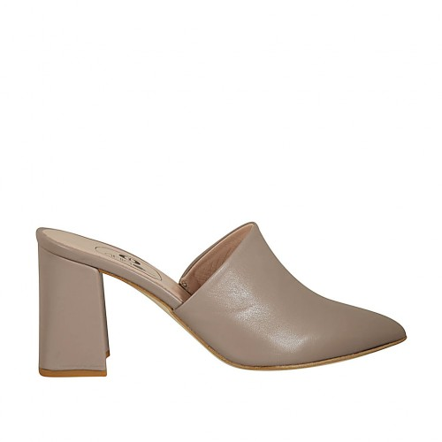Woman's closed toe mules in dove grey leather heel 7 - Available sizes:  42, 43