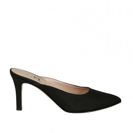 Woman's closed toe mules in black fabric heel 7 - Available sizes:  33, 34, 42, 43, 44