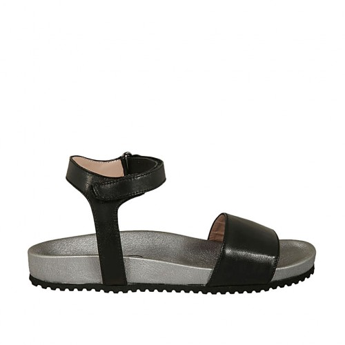 Woman's sandal with velcro strap in black leather with silver wedge heel 2 - Available sizes:  32, 34