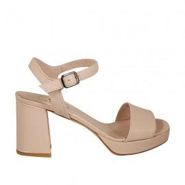 Sandalo da donna con cinturino e plateau in pelle nude tacco 7 - Misure disponibili: 32, 33, 34, 42, 43, 44, 45