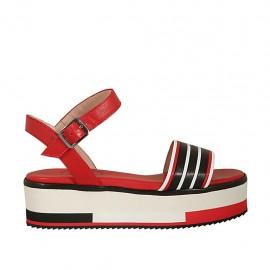 Sandalo da donna con cinturino in pelle rossa, nera e bianca zeppa 4 - Misure disponibili: 32, 33, 34, 43, 44, 45