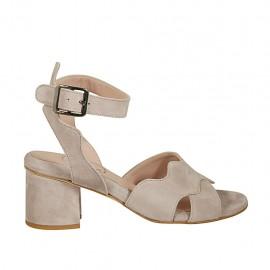 Sandalo da donna con cinturino in camoscio grigio tortora tacco 5 - Misure disponibili: 32, 33, 34, 42, 43, 44, 45