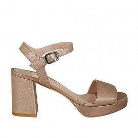 Sandalo da donna con cinturino e plateau in pelle laminata rame tacco 7 - Misure disponibili: 32, 33, 34, 42, 43, 44, 45