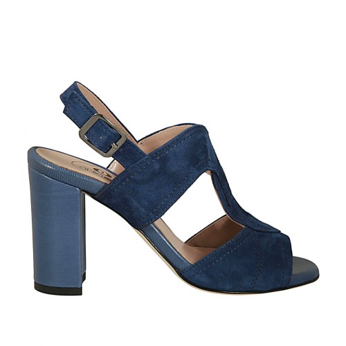 Woman's sandal in blue suede and leather heel 8 - Available sizes:  32, 42, 43