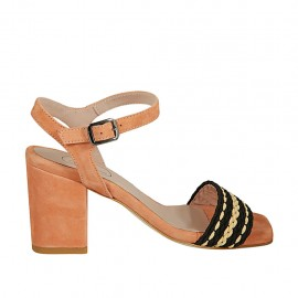 Sandalo da donna con cinturino in camoscio rosa salmone e tessuto nero e beige tacco 7 - Misure disponibili: 32, 33, 34, 42, 43, 44, 45