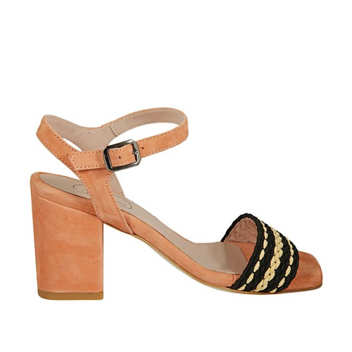 Woman's sandal with ankle strap in salmon pink suede and black and beige fabric heel 7 - Available sizes:  42, 44