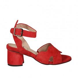 Sandalo da donna con cinturino in camoscio rosso tacco 5 - Misure disponibili: 32, 33, 34, 42, 43, 44, 45