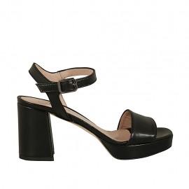 Sandalo da donna con plateau e cinturino in pelle nera tacco 7 - Misure disponibili: 33, 34, 42, 43, 44, 45