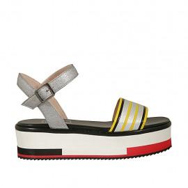 Sandalo da donna con cinturino in pelle argento, nera e gialla zeppa 4 - Misure disponibili: 32, 33, 34, 42, 43, 44, 45