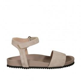 Sandalo da donna con velcro in camoscio grigio zeppa 2 - Misure disponibili: 32, 33, 34, 42, 43, 44, 45, 46