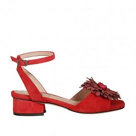 Sandalo da donna con cinturino e fiore in camoscio e pelle rossa tacco 3 - Misure disponibili: 32, 33, 34, 43, 44