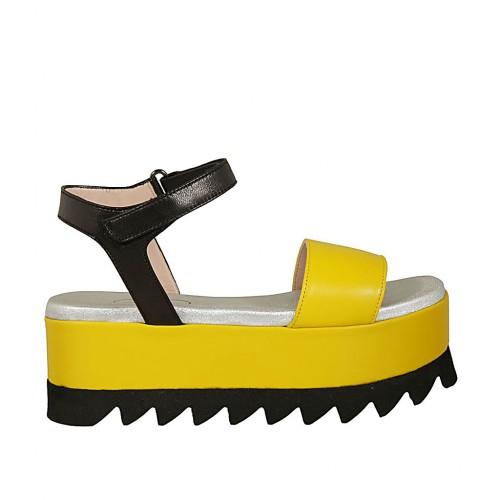 Velcro Amarillo Sandalia De En Piel Y Con Negra 5 Cierre Para Cuña Mujer f67yYbg