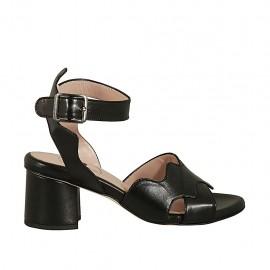 Sandalo con cinturino da donna in pelle nera tacco 5 - Misure disponibili: 32, 33, 34, 42, 43, 44