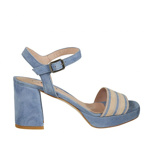 Woman's strap sandal with platform in light blue and beige suede heel 7 - Available sizes:  42, 43, 44