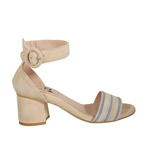 Woman's open strap shoe in beige and light blue suede heel 5 - Available sizes:  42, 43, 44