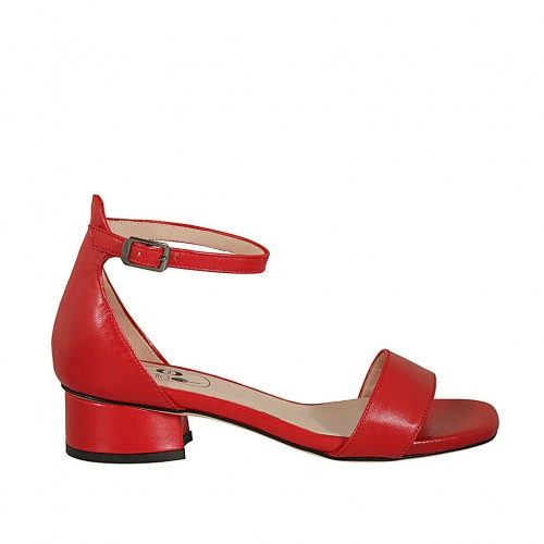 Woman's open shoe with strap in red leather heel 3 - Available sizes:  32