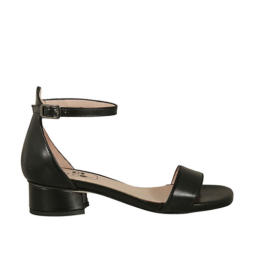 Woman's open shoe in black leather with strap heel 3 - Available sizes:  32