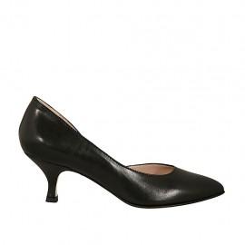Scarpa aperta al lato da donna in pelle nera tacco 5 - Misure disponibili: 32, 33, 34, 42, 43, 44, 45