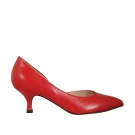 Scarpa aperta al lato da donna in pelle rossa tacco 5 - Misure disponibili: 32, 33, 34, 42, 43, 44, 45