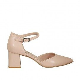 Woman's open shoe with strap in nude leather heel 5 - Available sizes:  32, 33, 34, 43, 44, 45