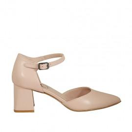Zapato abierto para mujer en piel color desnudo con cinturon tacon 5 - Tallas disponibles:  32, 33, 34, 42, 43, 44, 45